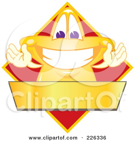Royalty-Free (RF) Clipart Illustration of a Star School Mascot Logo Over A Red Diamond And Blank Gold Banner by Toons4Biz