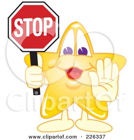 Royalty-Free (RF) Clipart Illustration of a Star School Mascot Holdin A Stop Sign by Toons4Biz