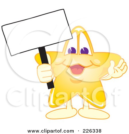 Royalty-Free (RF) Clipart Illustration of a Star School Mascot Holding Up A Blank Sign by Toons4Biz