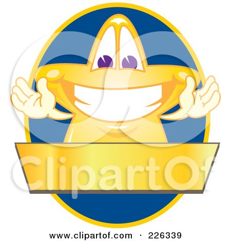 Royalty-Free (RF) Clipart Illustration of a Star School Mascot Logo Over A Blue Oval And Blank Gold Banner by Toons4Biz
