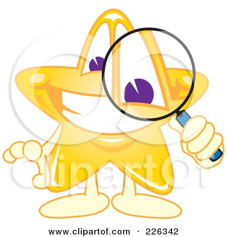Royalty-Free (RF) Clipart Illustration of a Star School Mascot Using A Magnifying Glass by Toons4Biz
