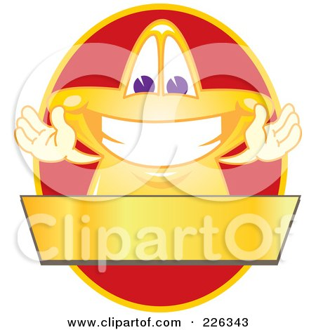 Royalty-Free (RF) Clipart Illustration of a Star School Mascot Logo Over A Red Oval And Blank Gold Banner by Toons4Biz