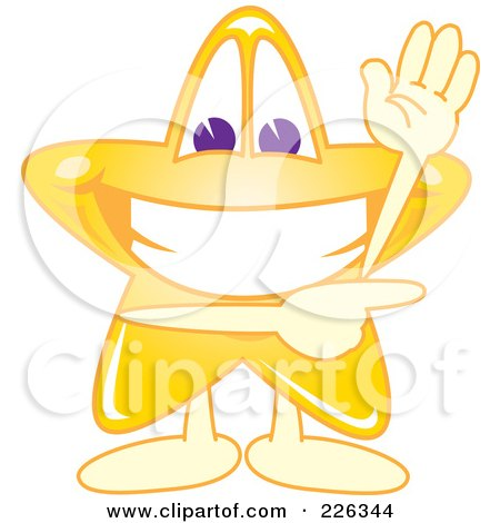 Royalty-Free (RF) Clipart Illustration of a Star School Mascot Waving And Pointing by Toons4Biz