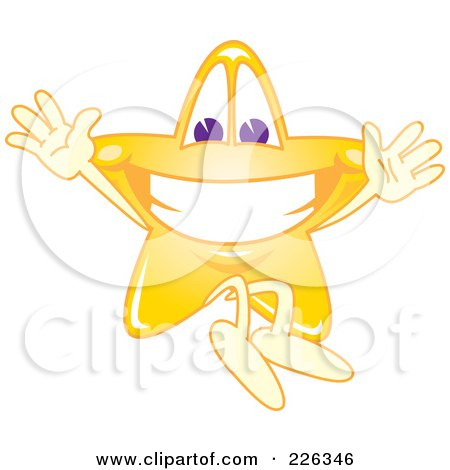 Royalty-Free (RF) Clipart Illustration of a Star School Mascot Jumping by Toons4Biz