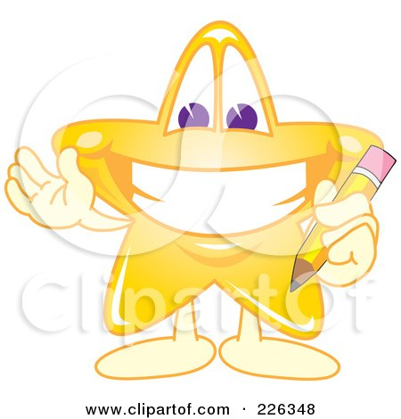 Royalty-Free (RF) Clipart Illustration of a Star School Mascot Holding A Pencil by Toons4Biz