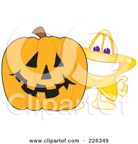 Royalty-Free (RF) Clipart Illustration of a Star School Mascot Standing By A Halloween Pumpkin by Toons4Biz