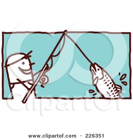 Royalty-Free (RF) Clipart Illustration of a Stick Man Reeling In A Fish On A Pole by NL shop