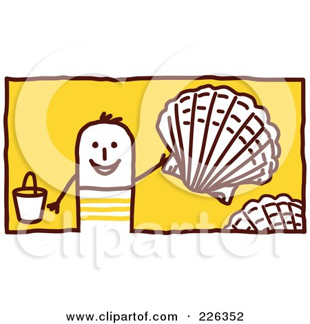 Royalty-Free (RF) Clipart Illustration of a Stick Man Collecting Shells On The Beach by NL shop