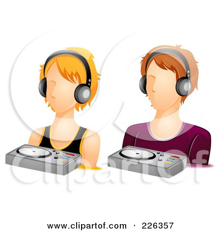 Royalty-Free (RF) Clipart Illustration of a Digital Collage Of Male And Female DJ Avatars by BNP Design Studio