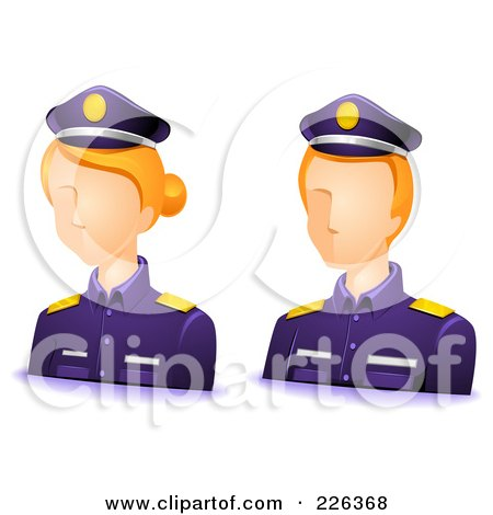 Royalty-Free (RF) Clipart Illustration of a Digital Collage Of Male And Female Police Avatars by BNP Design Studio