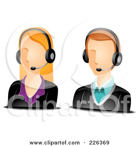 Royalty-Free (RF) Clipart Illustration of a Digital Collage Of Male And Female Customer Service Avatars by BNP Design Studio