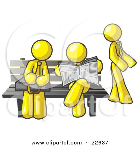 Clipart Illustration of Yellow Men at a Bench at a Bus Stop  by Leo Blanchette