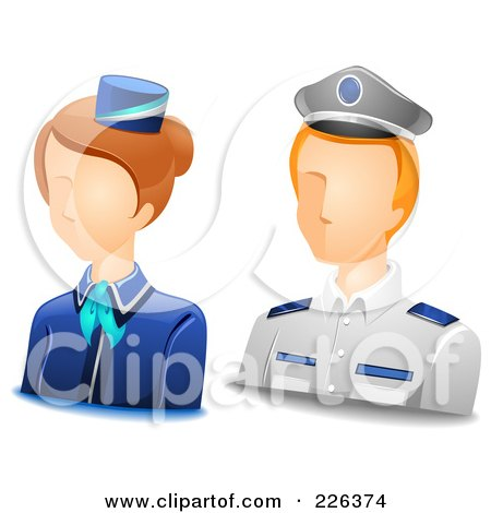 Royalty-Free (RF) Clipart Illustration of a Digital Collage Of Male And Female Steward Avatars by BNP Design Studio