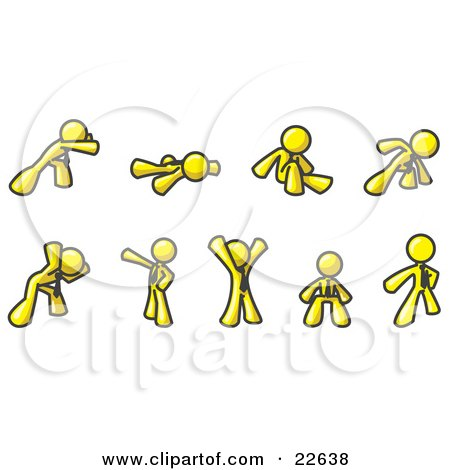 Clipart Illustration of a Yellow Man Doing Different Exercises and Stretches in a Fitness Gym  by Leo Blanchette