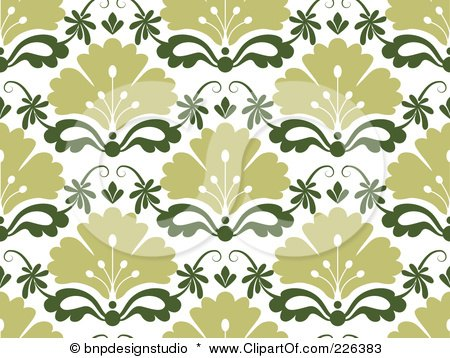 Royalty-Free (RF) Clipart Illustration of a Green Seamless Damask Background Pattern by BNP Design Studio