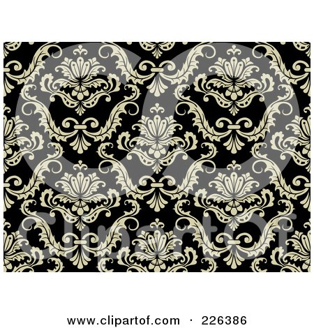 Royalty-Free (RF) Clipart Illustration of a Black And Beige Damask Background Pattern - 3 by BNP Design Studio
