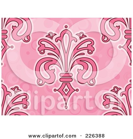 Royalty-Free (RF) Clipart Illustration of a Pink Seamless Damask Background Pattern - 2 by BNP Design Studio