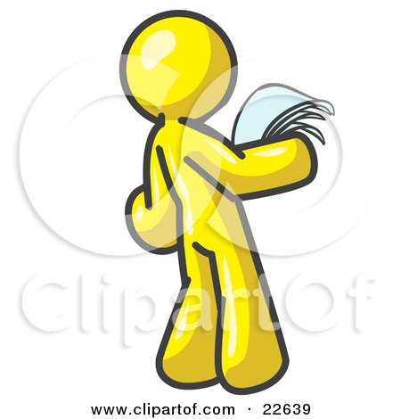 Serious Yellow Man Reading Papers and Documents Posters, Art Prints