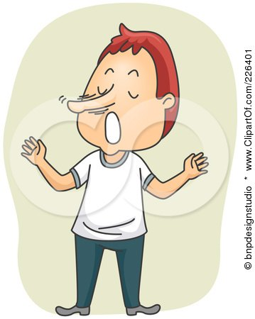 Royalty-Free (RF) Clipart Illustration of a Lying Man With A Growing Nose by BNP Design Studio