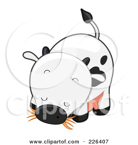 Royalty-Free (RF) Clipart Illustration of a Cute Cow Eating Hay by BNP Design Studio