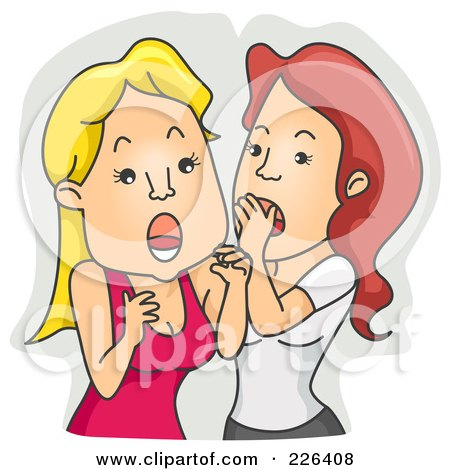 Royalty-Free (RF) Clipart Illustration of a Woman Shocked Over Gossip by BNP Design Studio