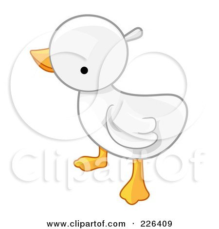 Royalty-Free (RF) Clipart Illustration of a White Baby Duck by BNP Design Studio