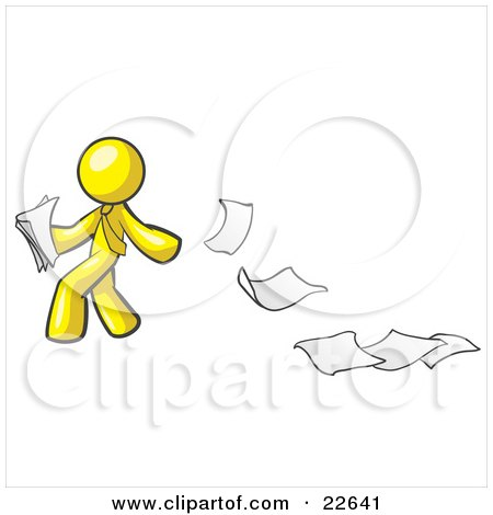 Clipart Illustration of a Yellow Man Dropping White Sheets Of Paper On A Ground And Leaving A Paper Trail, Symbolizing Waste by Leo Blanchette