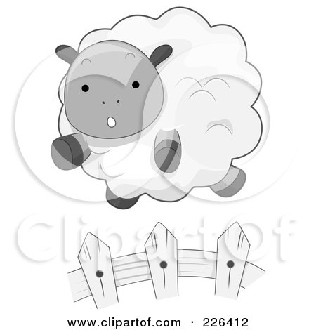 Royalty-Free (RF) Clipart Illustration of a Cute Sheep Leaping A Fence by BNP Design Studio