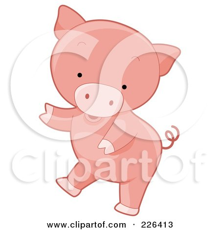 Royalty-Free (RF) Clipart Illustration of a Cute Pig Dancing by BNP Design Studio