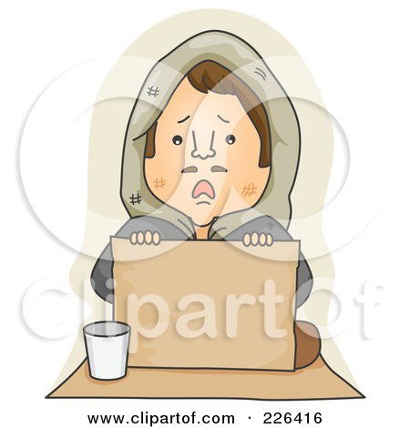 Royalty-Free (RF) Clipart Illustration of a Sad Lonely Begger Holding A Blank Sign by BNP Design Studio
