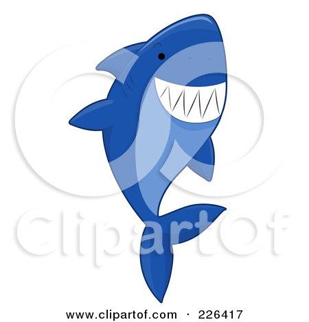 Royalty-Free (RF) Clipart Illustration of a Blue Shark Swimming Upwards by BNP Design Studio