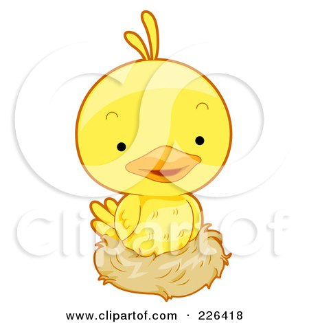 Royalty-Free (RF) Clipart Illustration of a Cute Yellow Bird Nesting by BNP Design Studio