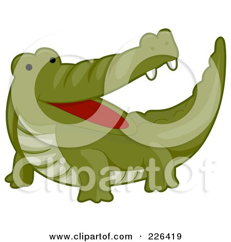 Royalty-Free (RF) Clipart Illustration of a Cute Happy Crocodile by BNP Design Studio