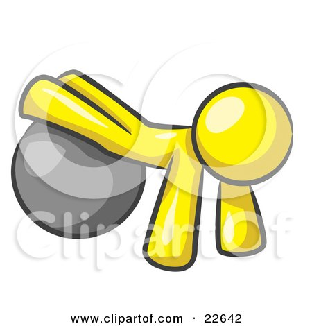 Clipart Illustration of a Yellow Man Strength Training His Arms And Legs While Using A Yoga Exercise Ball by Leo Blanchette
