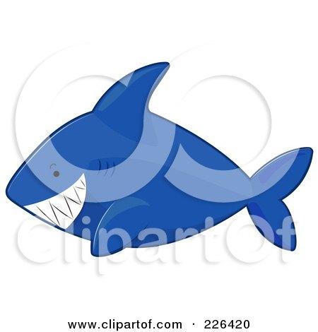 Royalty-Free (RF) Clipart Illustration of a Grinning Blue Shark by BNP Design Studio