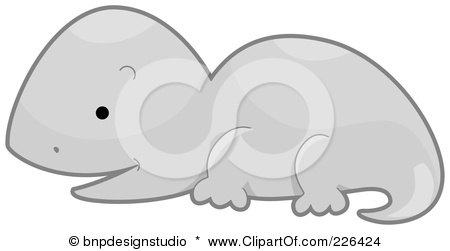 Royalty-Free (RF) Clipart Illustration of a Cute Gray Lizard In Profile by BNP Design Studio