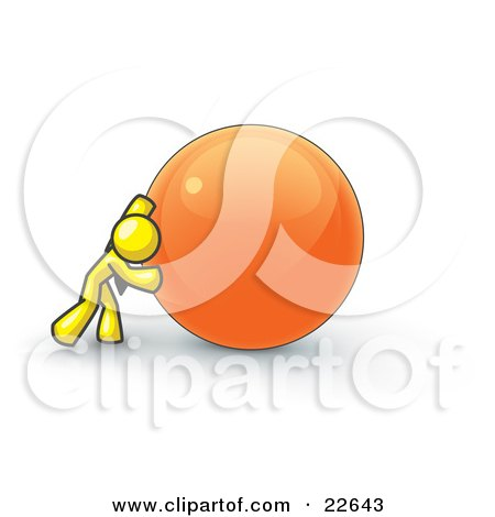 Clipart Illustration of a Strong Yellow Business Man Pushing an Orange Sphere  by Leo Blanchette