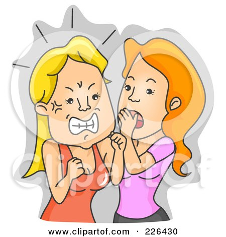 Royalty-Free (RF) Clipart Illustration of a Woman Getting Angry Over Gossip by BNP Design Studio