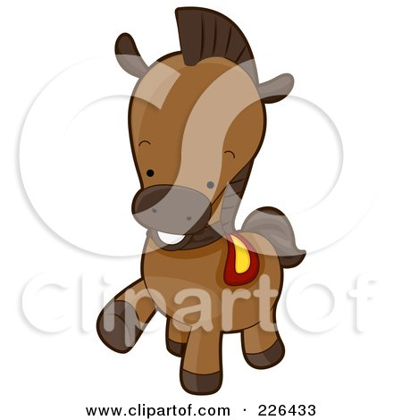 Royalty-Free (RF) Clipart Illustration of a Cute Horse Prancing by BNP Design Studio