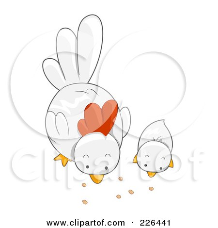 Royalty-Free (RF) Clipart Illustration of a White Hen And Chick Eating by BNP Design Studio