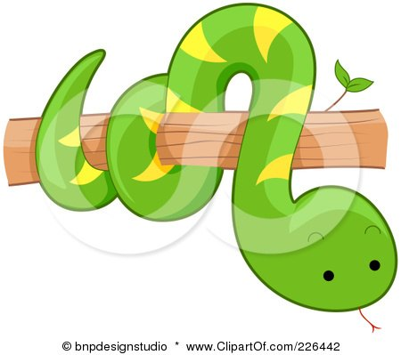 Royalty-Free (RF) Clipart Illustration of a Cute Snake On A Tree Branch by BNP Design Studio