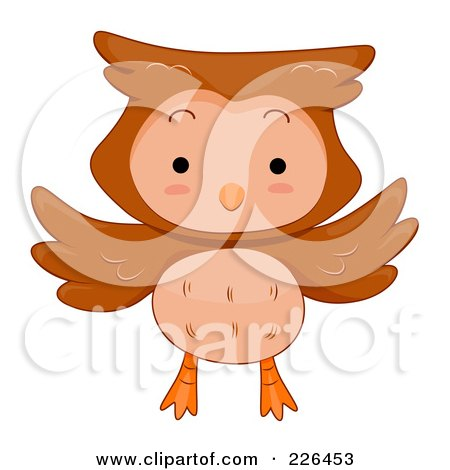 Royalty-Free (RF) Clipart Illustration of a Cute Flying Owl by BNP Design Studio