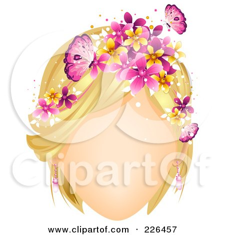 Royalty-Free (RF) Clipart Illustration of a Faceless Woman With Butterflies And Flowers In Her Blond Hair by BNP Design Studio
