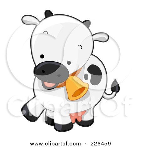 Royalty-Free (RF) Clipart Illustration of a Cute Cow With A Bell by BNP Design Studio