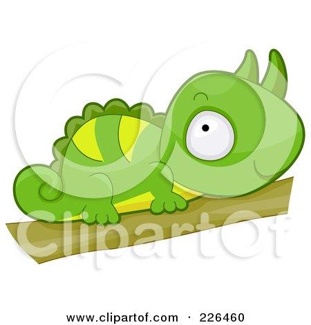 Royalty-Free (RF) Clipart Illustration of a Cute Horned Chameleon by BNP Design Studio