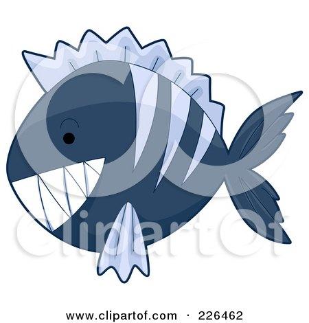 Royalty-Free (RF) Clipart Illustration of a Blue Piranha Fish by BNP Design Studio