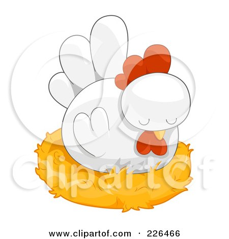 Royalty-Free (RF) Clipart Illustration of a White Hen Nesting by BNP Design Studio