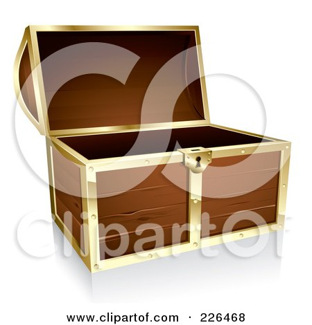 Royalty-Free (RF) Clipart Illustration of a 3d Wooden Treasure Chest With Gold Trim by TA Images