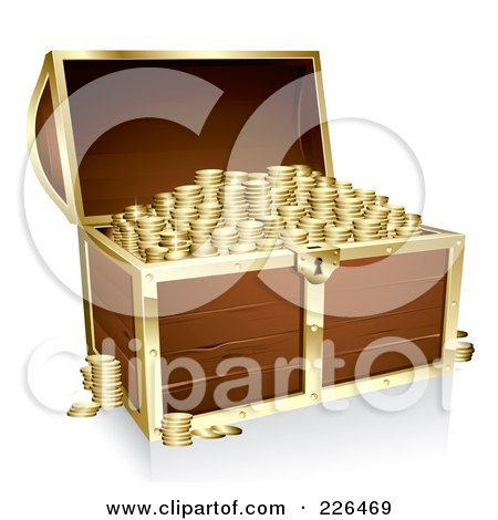 Royalty-Free (RF) Clipart Illustration of a 3d Full Wooden Treasure Chest With Gold Trim by TA Images