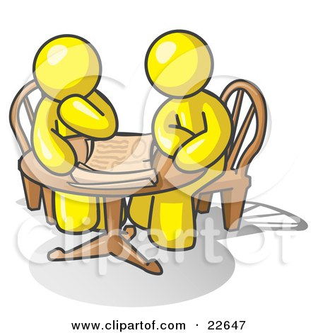 Clipart Illustration of Two Yellow Businessmen Sitting at a Table, Discussing Papers by Leo Blanchette